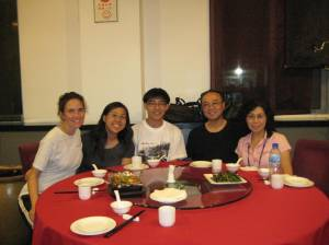 dinner with danielle, james, auntie helen, and uncle peter